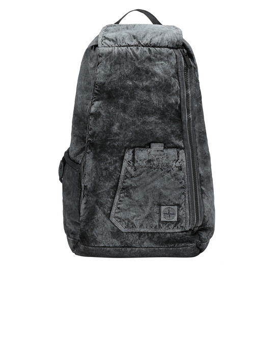 STONE ISLAND 91270 COMPACTED NYLON GARMENT DYED WITH DUST COLOUR FINISH Rucksack Herr Schwarz