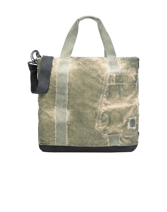 Medium fabric bag Man 91170 COMPACTED NYLON GARMENT DYED WITH DUST COLOUR FINISH Front STONE ISLAND