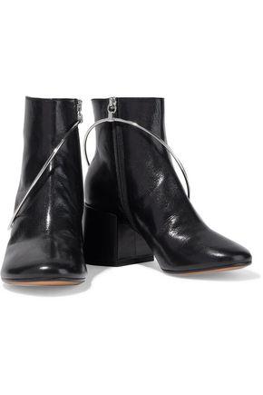 Mm6 Maison Margiela Boots MM6 MAISON MARGIELA WOMAN RING-EMBELLISHED GLOSSED-LEATHER ANKLE BOOTS BLACK