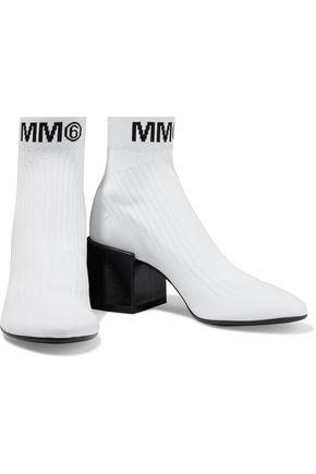 Mm6 Maison Margiela Boots MM6 MAISON MARGIELA WOMAN RIBBED LOGO-JACQUARD SOCK BOOTS WHITE
