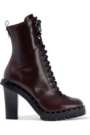 VALENTINO GARAVANI حذاء بوت إلى الكاحل من الجلد المزخرف بأزرار معدنية