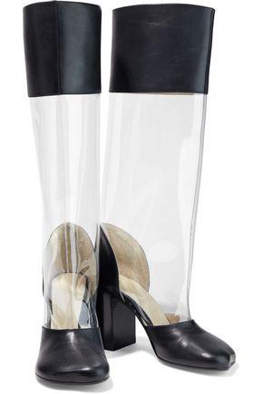 Mm6 Maison Margiela Boots MM6 MAISON MARGIELA WOMAN LEATHER-PANELED PVC KNEE BOOTS BLACK