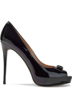 VALENTINO GARAVANI Bow-embellished patent-leather platform pumps