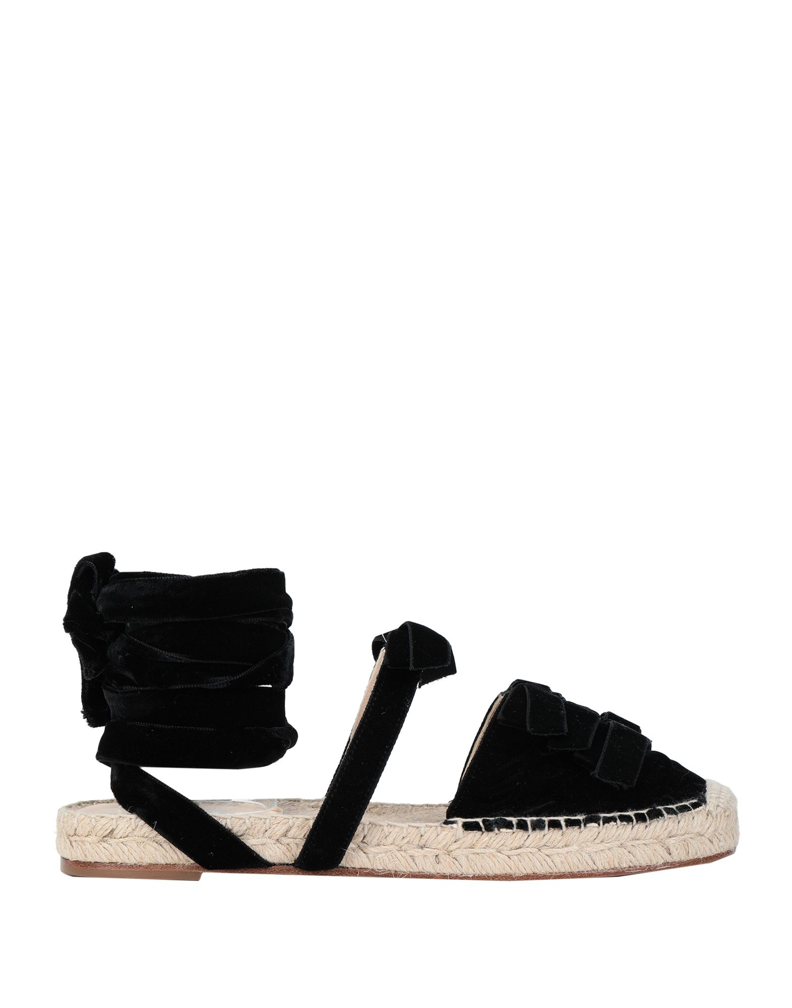 THE ATTICO Espadrilles. velvet, bow-detailed, basic solid color, wrapping straps closure, round toeline, flat, leather lining, leather sole, contains non-textile parts of animal origin. Textile fibers