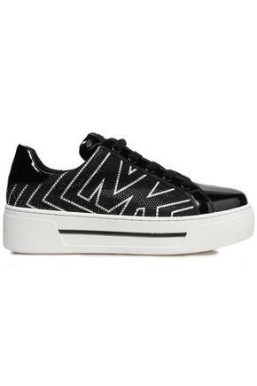 MICHAEL MICHAEL KORS Ashlyn crystal-embellished patent-paneled faux leather sneakers
