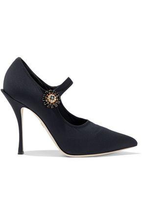 DOLCE & GABBANA حذاء بمب ماري جاين من نسيج محبوك مرن مزين بالكريستال