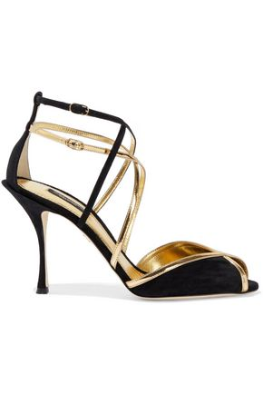 DOLCE & GABBANA Metallic leather-trimmed suede sandals