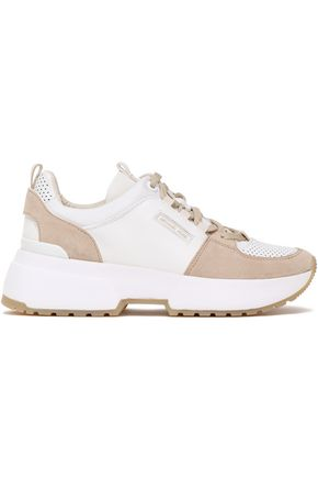 MICHAEL MICHAEL KORS Paneled leather and suede sneakers