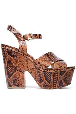MICHAEL MICHAEL KORS Divia snake-effect leather platform sandals