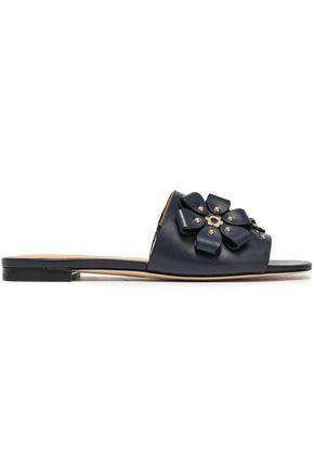 MICHAEL MICHAEL KORS Floral-appliquéd studded leather platform sandals