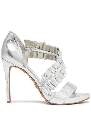MICHAEL MICHAEL KORS Ruffle-trimmed metallic textured-leather sandals