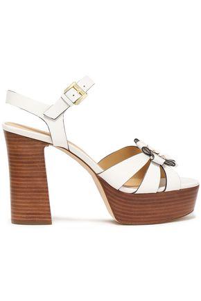 MICHAEL MICHAEL KORS Tara floral-appliquéd studded leather platform sandals