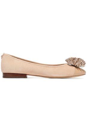 MICHAEL MICHAEL KORS Pom pom-embellished patent leather-trimmed suede ballet flats