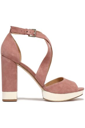 MICHAEL MICHAEL KORS Gold tone-trimmed suede platform sandals