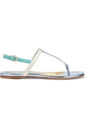 EMILIO PUCCI Color-block matte and mirrored-leather slingback sandals