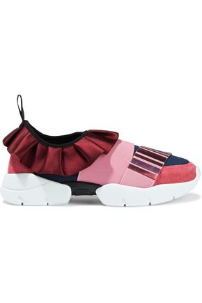 EMILIO PUCCI Appliquéd suede, satin and neoprene sneakers