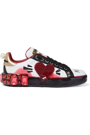 DOLCE & GABBANA Portofino Melt embellished printed coated leather sneakers