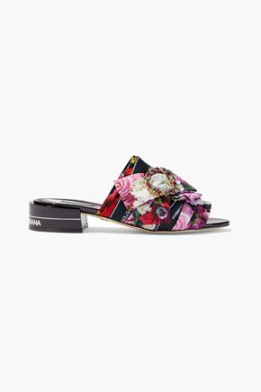 DOLCE & GABBANA Embellished pleated floral-print crepe mules