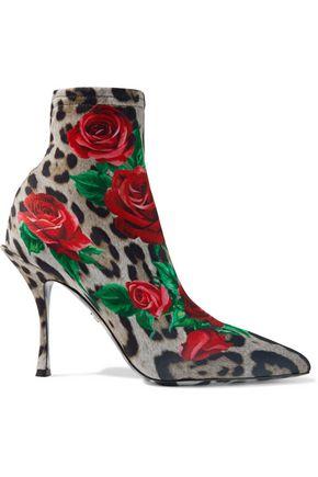 """DOLCE & GABBANA حذاء بوت على شكل جوارب """"لوري"""" من الجيرسي المرن المطبع برسومات"""