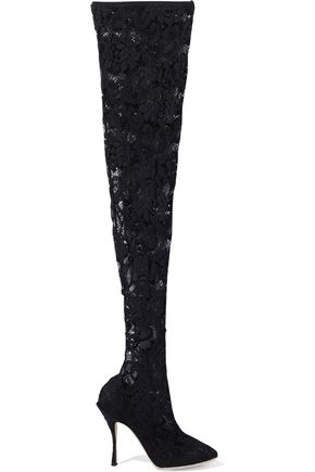DOLCE & GABBANA Bette stretch-lace thigh boots