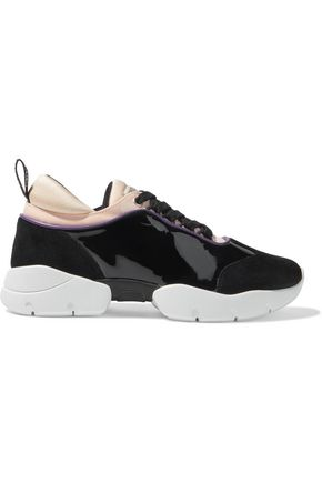 EMILIO PUCCI City Wave patent-leather, suede and neoprene sneakers