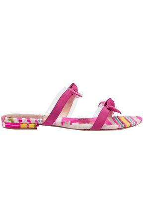ALEXANDRE BIRMAN PVC-trimmed bow-embellished suede and jacquard slides