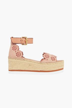 SEE BY CHLOÉ Laser-cut embroidered suede platform espadrille sandals