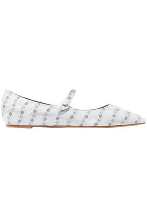 TABITHA SIMMONS Hermione faux pearl-embellished floral-jacquard point-tie flats