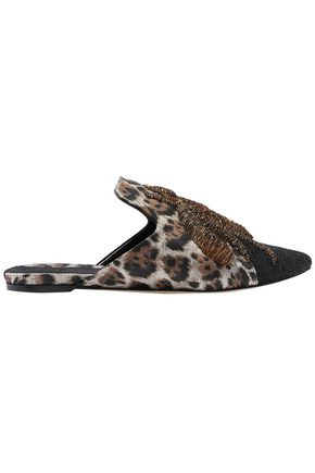 SANAYI 313 Felt-paneled metallic-trimmed embroidered leopard-print jacquard slippers