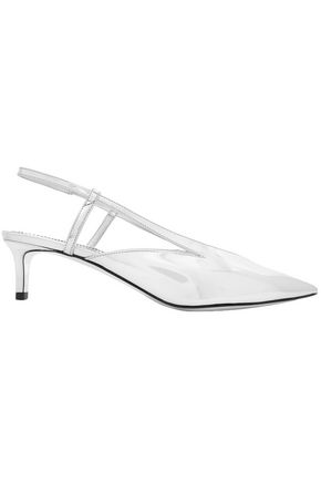 GIVENCHY Mirrored-leather slingback pumps
