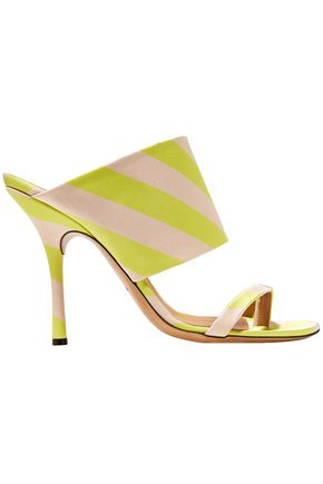 DRIES VAN NOTEN Neon striped satin mules