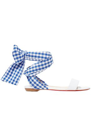 CHRISTIAN LOUBOUTIN Bow-detailed gingham woven and leather sandals