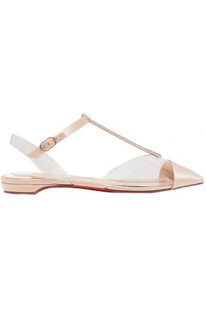 CHRISTIAN LOUBOUTIN Crystal-embellished satin and PVC point-toe flats