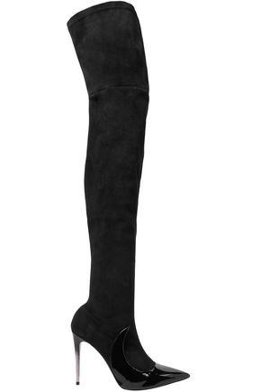 MATTEOMARS Stocking Ala suede and patent-leather over-the-knee boots