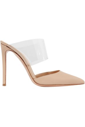 GIANVITO ROSSI PVC-paneled leather mules