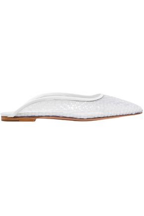 ROSETTA GETTY Leather-trimmed braided Perspex slippers
