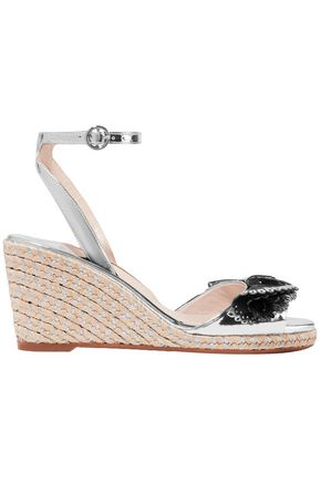 SOPHIA WEBSTER Laser-cut appliquéd mirrored-leather wedge espadrille sandals