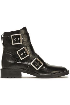 RAG & BONE Cannon buckled crinkled glossed-leather ankle boots