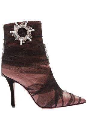 AMINA MUADDI Tessa crystal-embellished ruched tulle and satin ankle boots