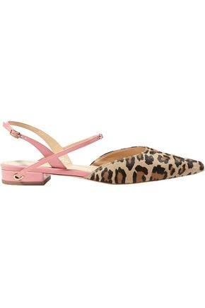 JENNIFER CHAMANDI Vittorio leopard-print calf hair and patent-leather slingback point-toe flats