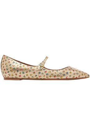 TABITHA SIMMONS Hermione floral-print metallic leather point-toe flats