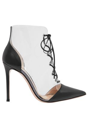 GIANVITO ROSSI Lace-up leather-paneled PVC ankle boots