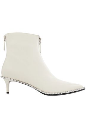 ALEXANDER WANG Studded zip-detailed leather ankle boots