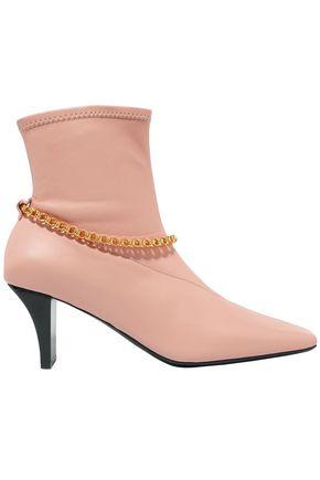 JIL SANDER حذاء بوت على شكل جوارب من الجلد المزين