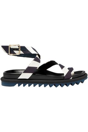 DRIES VAN NOTEN Sriped satin sandals