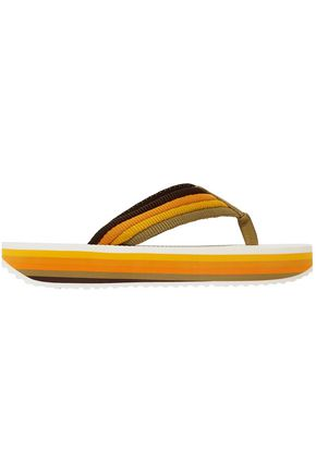 ZIMMERMANN Striped canvas platform flip flops