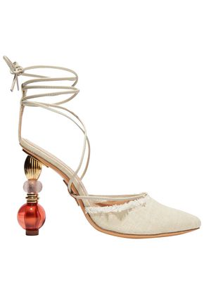 JACQUEMUS Lace-up embellished frayed organic cotton-canvas pumps