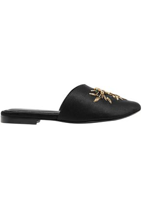 ZYNE Embellished silk-satin slippers