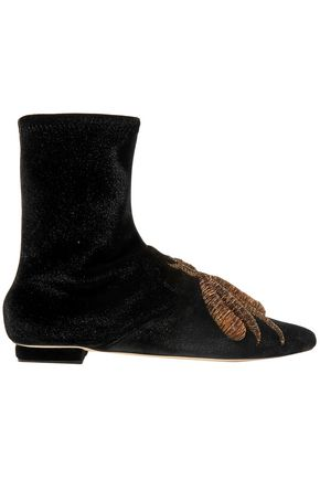 SANAYI 313 Ragno embroidered stretch-velvet ankle boots
