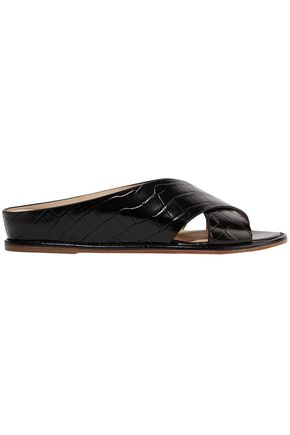 GABRIELA HEARST Ellington croc-effect leather wedge sandals